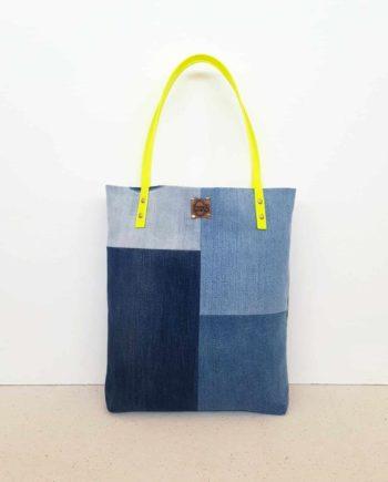 Shopper vegan gelb Denim Jeans blau Patchwork Totebag