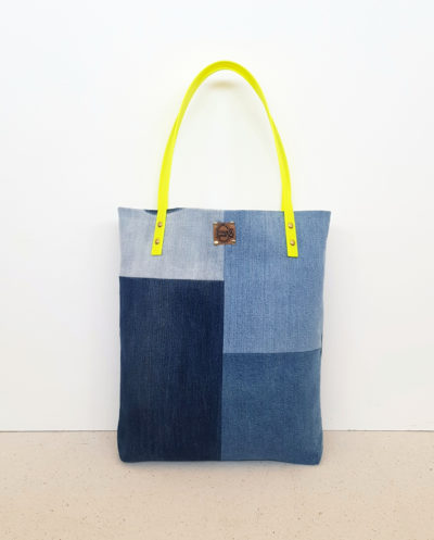 Shopper vegan gelb Denim Jeans blau Patchwork Totebag
