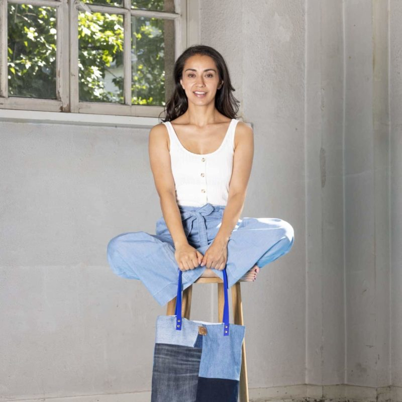 Shopper Totebag Handtasche blau Denim jeans Patchwork vegan