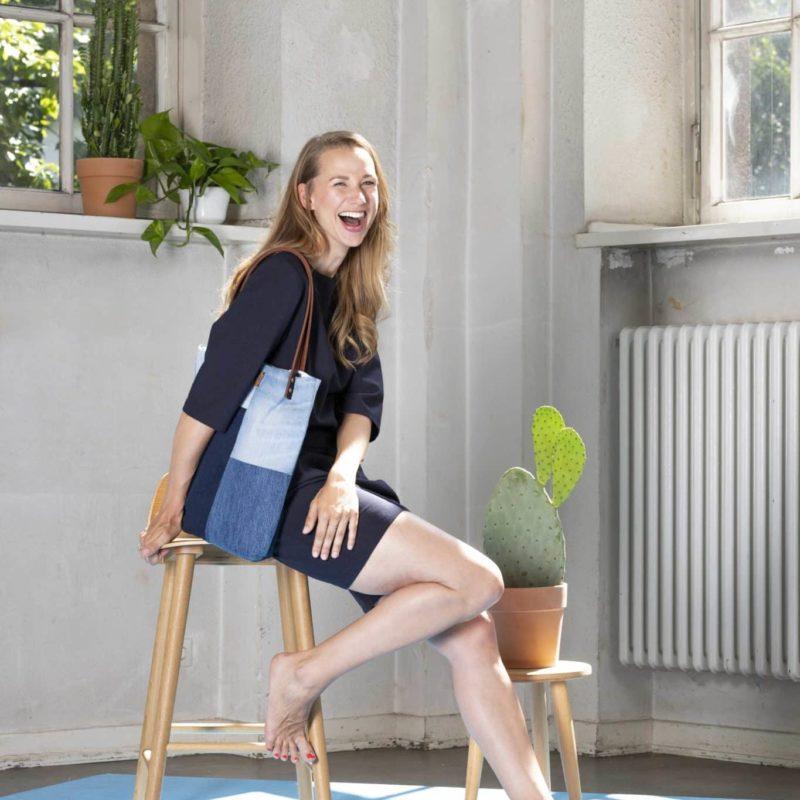 Shopper Totebag Handtasche blau Denim jeans Patchwork Leder