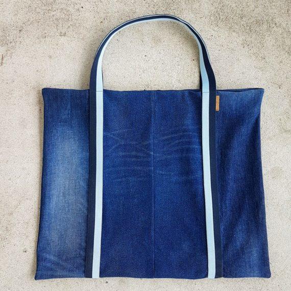 Beachbag Strandtasche used Denim Upcycling Strand blau vegan