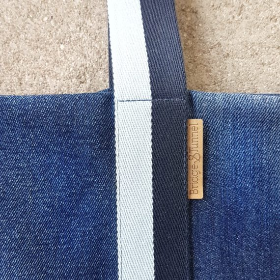 Beachbag Strandtasche used Denim Upcycling Strand blau vegan