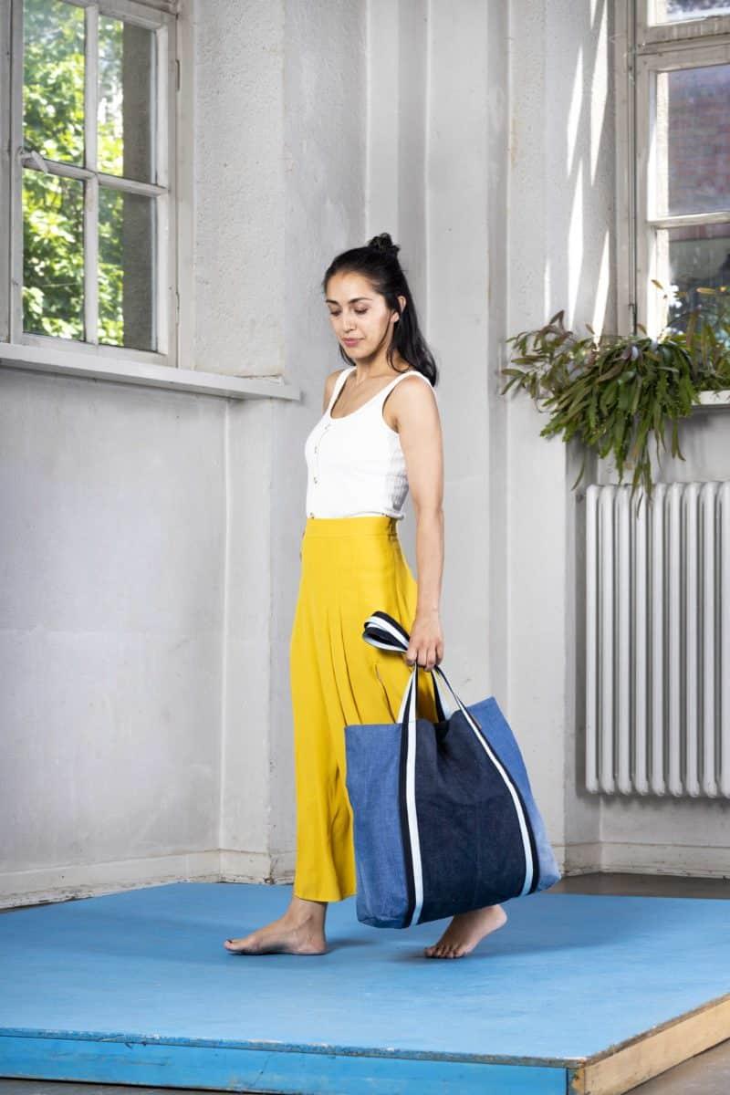 Strandtasche Beachbag Denim dunkel Upcycling