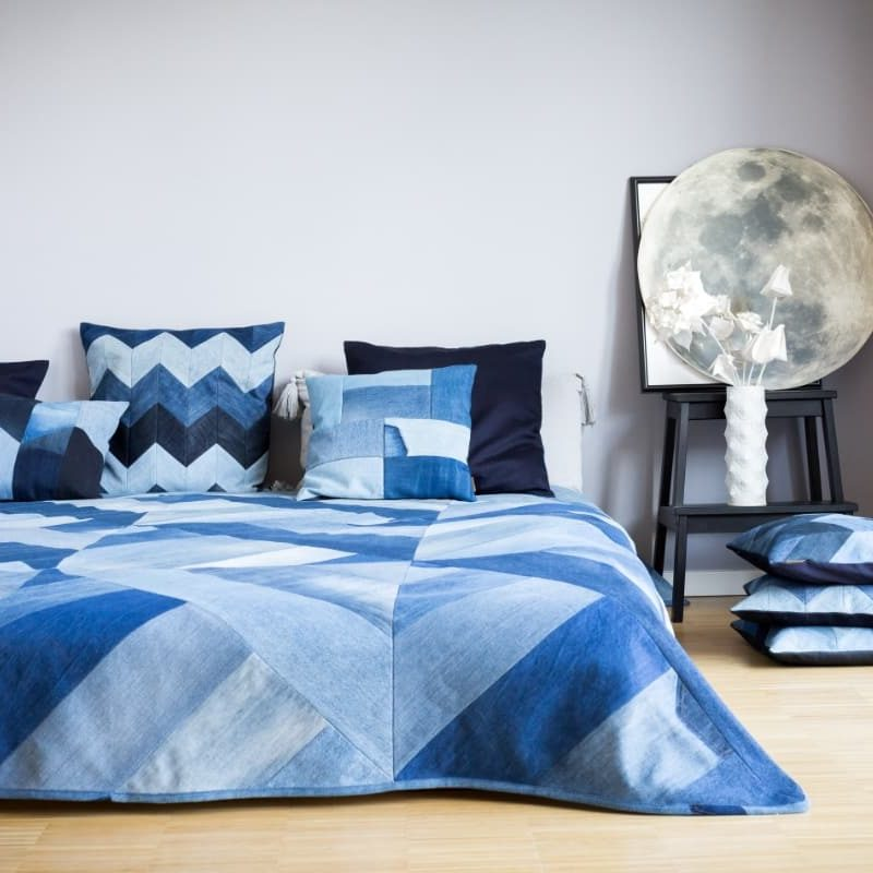 Interior Home Denim Jeans Plaid Kissen