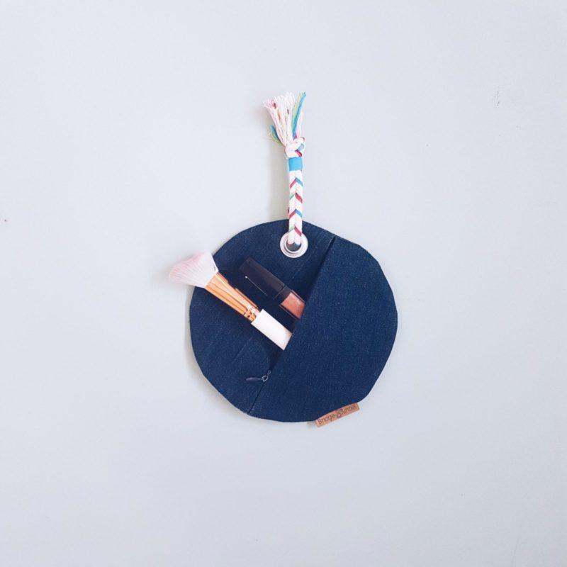 kleine Tasche Jeans Kreis Kordel bunt