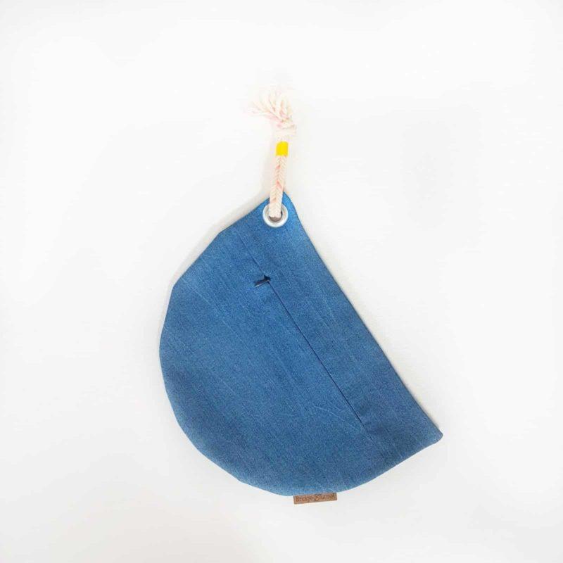 kleine Tasche Jeans Mond gelbes Band