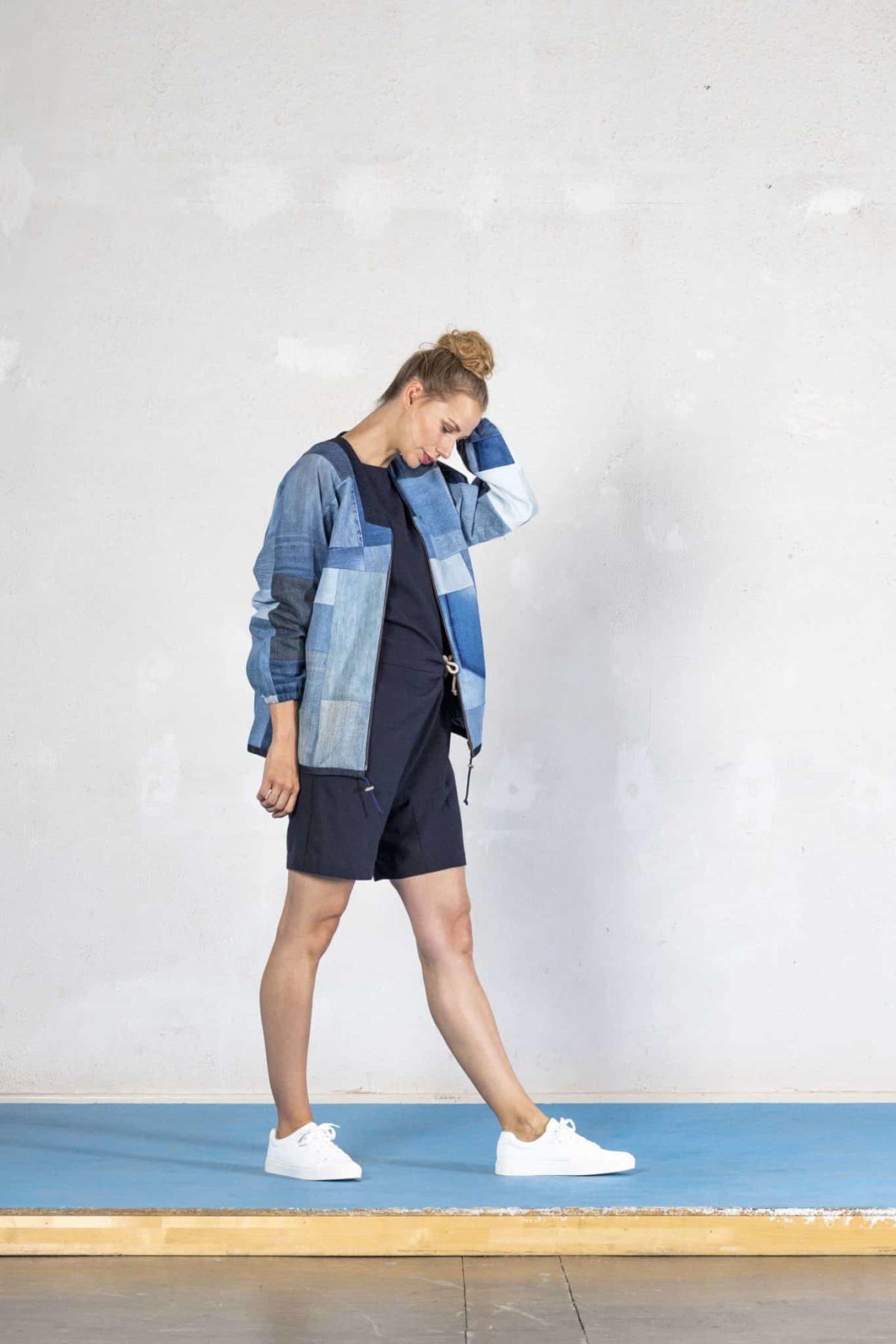 Blouson Jeansjacke Bomberjacke Collegejacke Jeans Denim Patchwork Upcycling Bridge&Tunnel