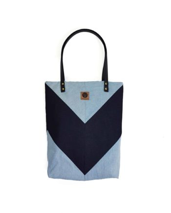 Shopper gemoetrisch minimalistisch blau Jeans Denim